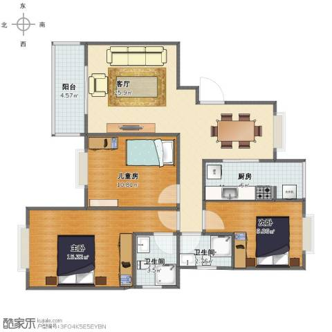 颐和盛世3室1厅1卫2厨87.00㎡户型图