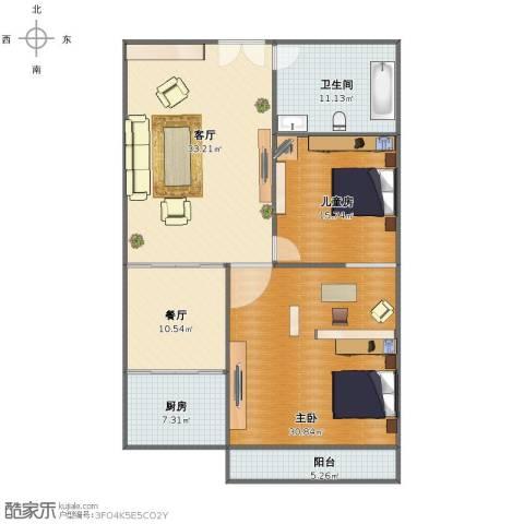 民生国际2室2厅1卫1厨124.00㎡户型图