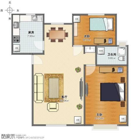 经纬城市绿洲武清二期2室1厅1卫1厨78.00㎡户型图