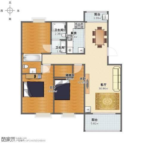 夏家桥118号2室1厅1卫2厨98.00㎡户型图