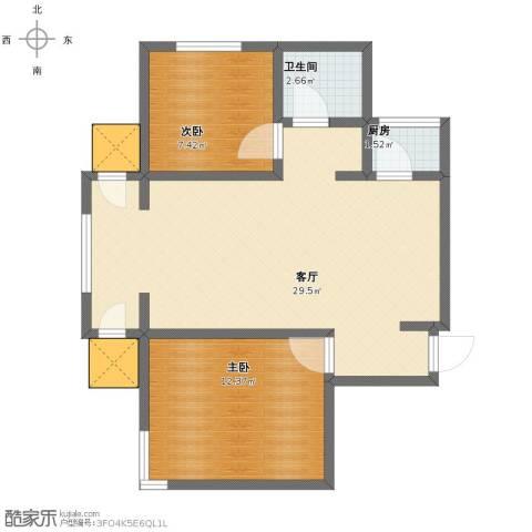 渤海天易园2室1厅1卫1厨63.00㎡户型图