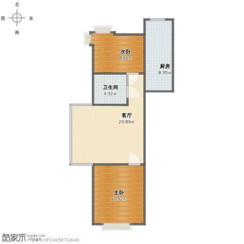 时尚派2室1厅1卫1厨62.00㎡户型图
