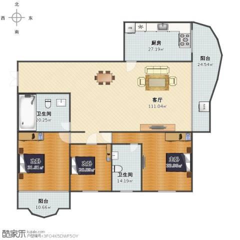 嘉成花园3室1厅1卫2厨311.39㎡户型图