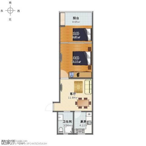 泗塘七村2室1厅1卫1厨48.00㎡户型图