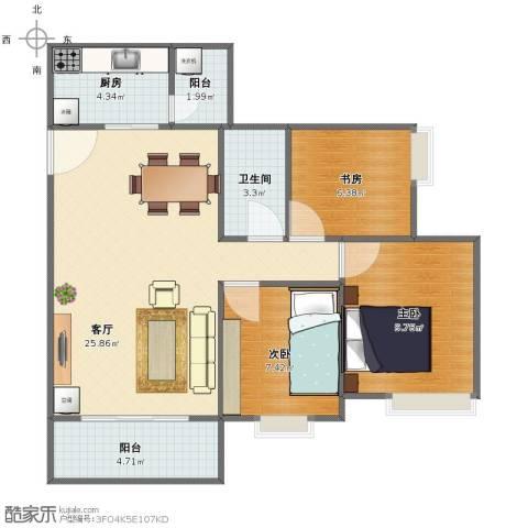映翠豪庭3室1厅1卫1厨72.00㎡户型图