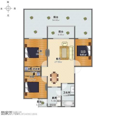 大上海国际花园3室1厅1卫1厨128.00㎡户型图