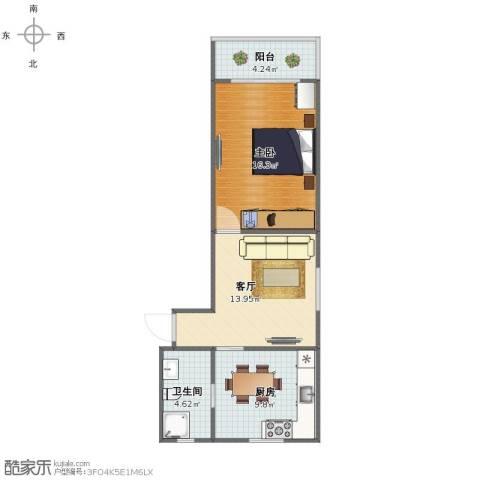 共富二村1室1厅1卫1厨55.00㎡户型图