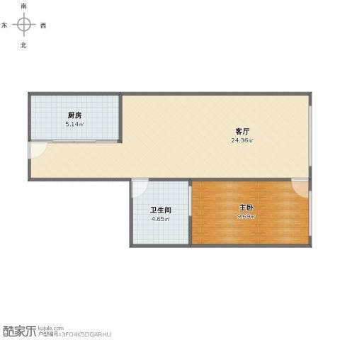 北海大厦公寓1室1厅1卫1厨48.00㎡户型图