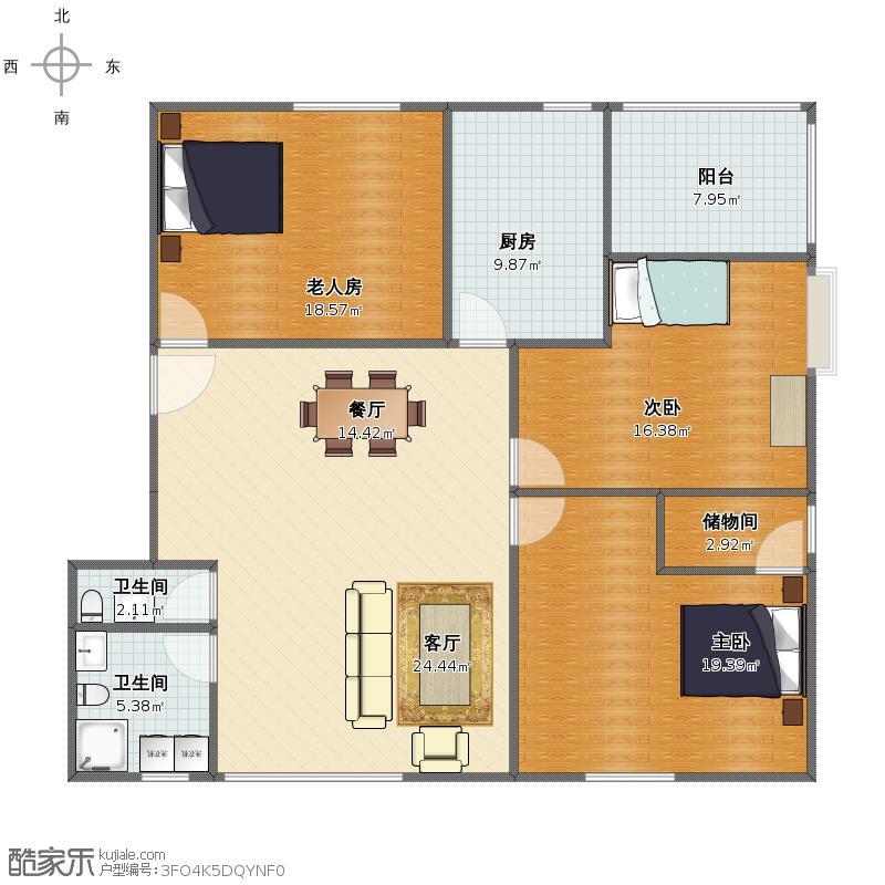 山水文园简约三室两厅
