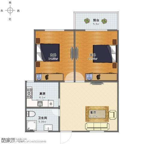 虹华大楼2室1厅1卫1厨75.00㎡户型图