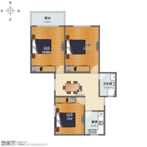 共康三村3室1厅1卫1厨82.00㎡户型图