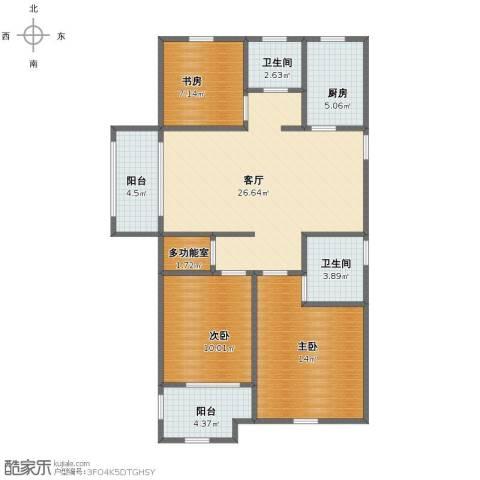 金色蓝庭3室1厅1卫2厨92.00㎡户型图