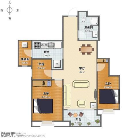 沈阳雅居乐花园3室1厅1卫1厨88.00㎡户型图
