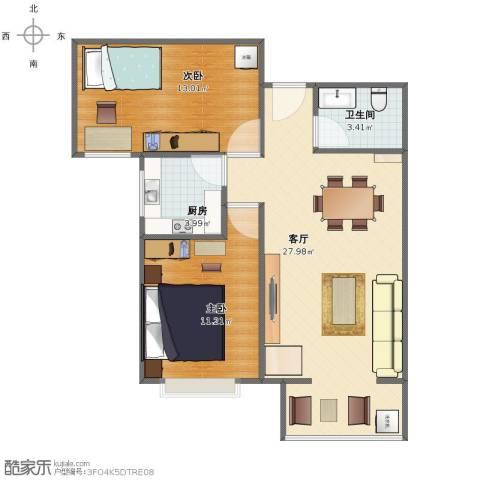 中城花溪畔2室1厅1卫1厨66.00㎡户型图