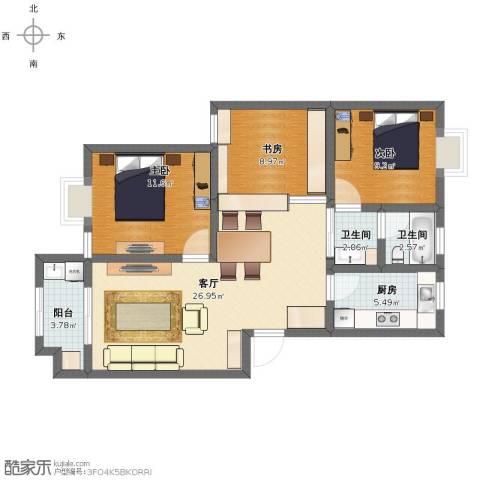 惠麓苑3室1厅1卫2厨87.00㎡户型图