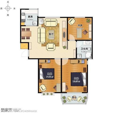 上城公馆3室1厅1卫1厨97.00㎡户型图