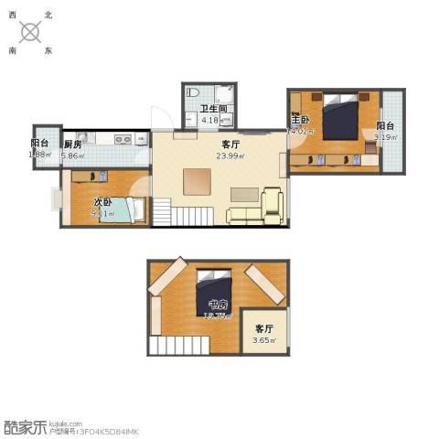 青塔东里3室2厅1卫1厨96.00㎡户型图