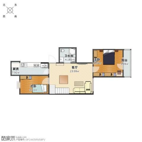 青塔东里2室1厅1卫1厨70.00㎡户型图