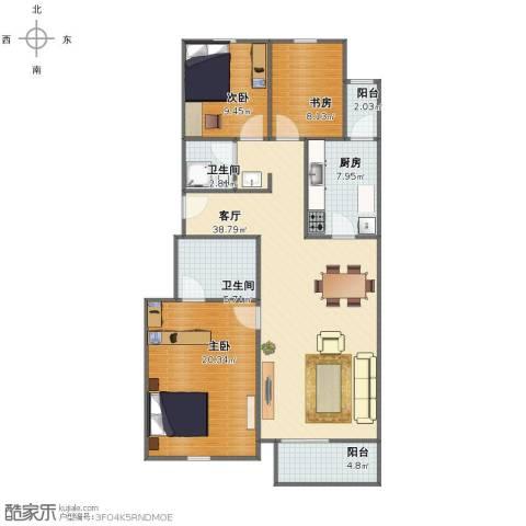 银河小区15号3室1厅1卫2厨110.00㎡户型图