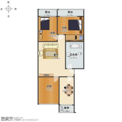 新秀园小区3室2厅1卫1厨109.00㎡户型图