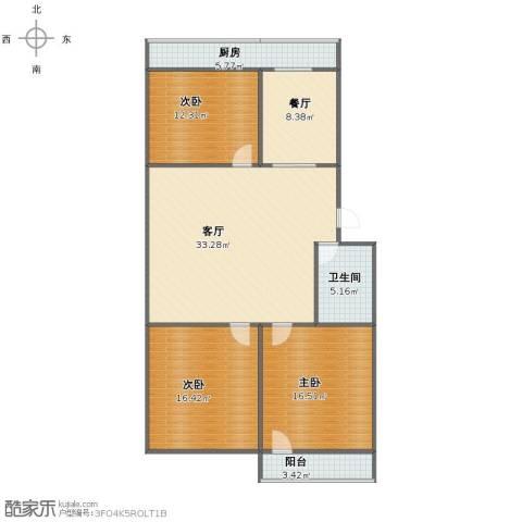 振兴街小区3室2厅1卫1厨111.07㎡户型图