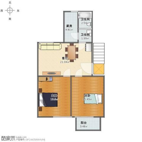 望园小区2室1厅1卫2厨72.00㎡户型图