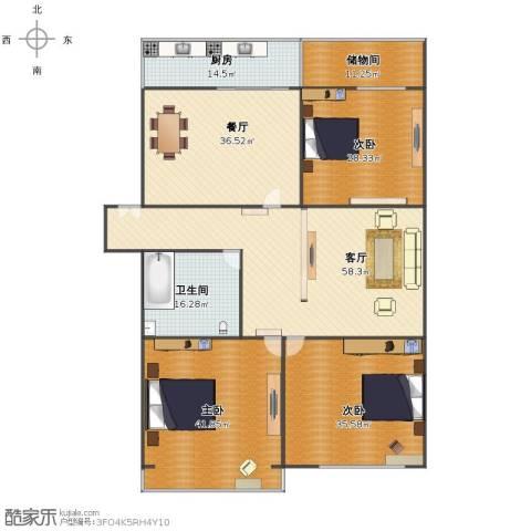 北空干休所3室2厅1卫1厨258.00㎡户型图