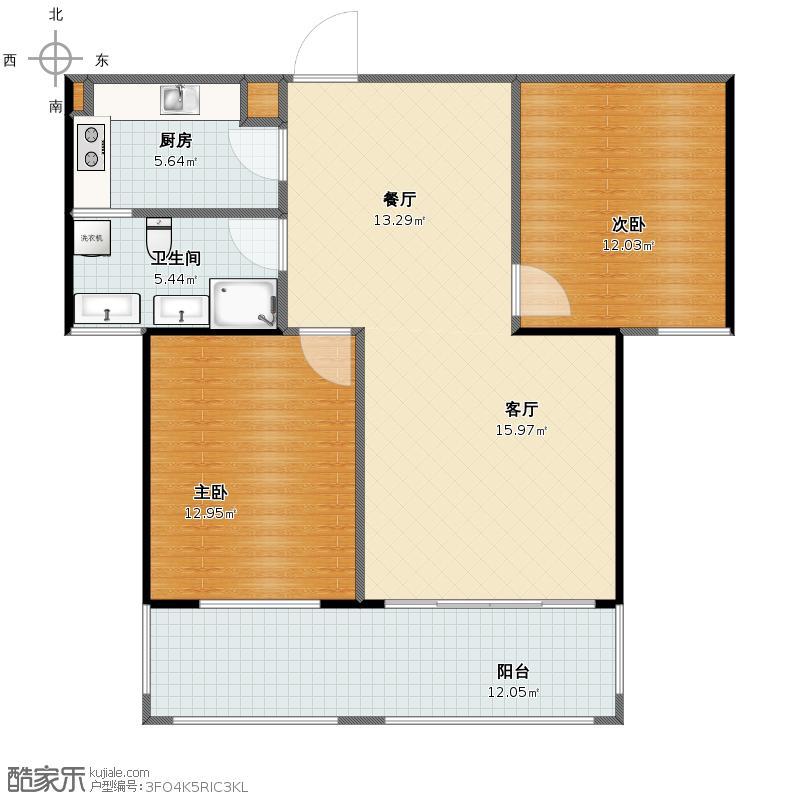 星子庐湖春天2居室 改造方案2