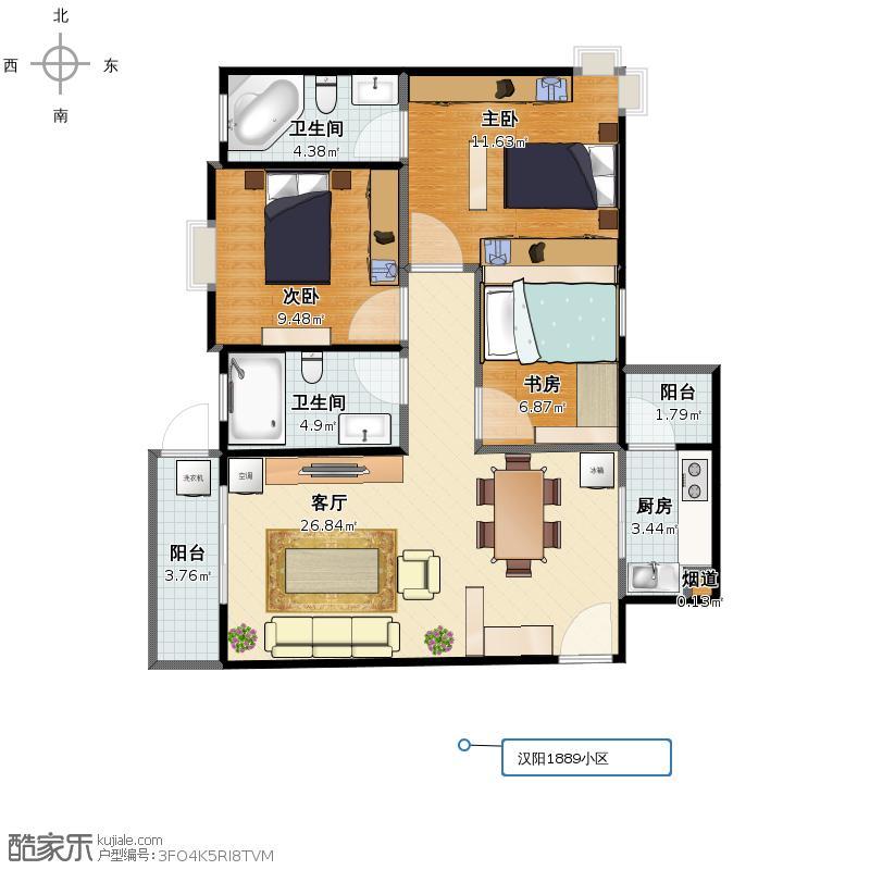 武汉汉阳1889小区三室二厅二卫一厨105平米