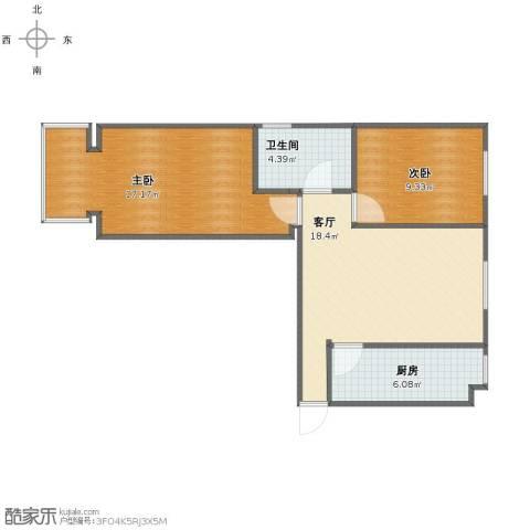 枫林花溪2室1厅1卫1厨62.00㎡户型图