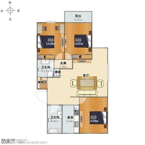 春江花园3室1厅1卫2厨108.00㎡户型图