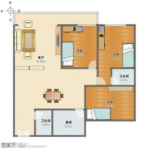 国际大都会3室1厅1卫2厨94.00㎡户型图