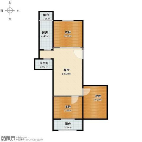 定安西里3室1厅1卫1厨63.00㎡户型图