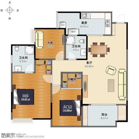 和泓南山道3室1厅1卫2厨113.00㎡户型图