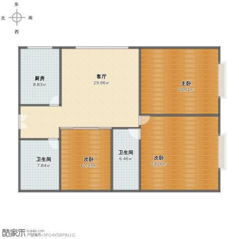 滨东花园3室1厅1卫2厨119.00㎡户型图