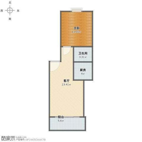 莲湖花园1室1厅1卫1厨56.00㎡户型图