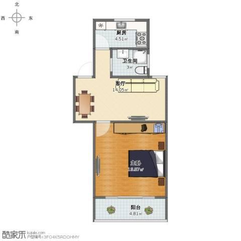紫叶小区1室1厅1卫1厨49.00㎡户型图