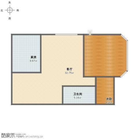 金郡小区1室1厅1卫1厨74.58㎡户型图