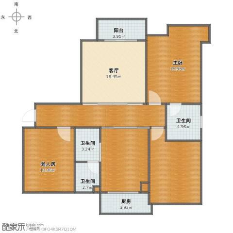 金域首府2室1厅1卫3厨116.00㎡户型图