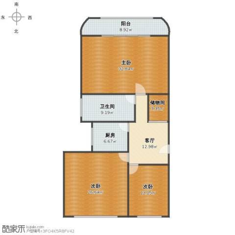 仙逸小区3室1厅1卫1厨124.00㎡户型图