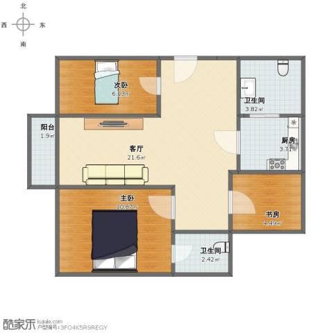 岚皋馨苑3室1厅1卫2厨62.00㎡户型图