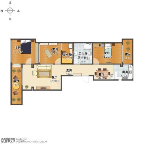 康居新城3室2厅1卫2厨101.00㎡户型图