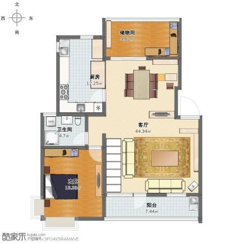 四季新家园1室1厅1卫1厨108.00㎡户型图