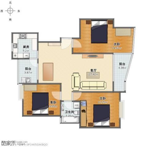 蔚蓝城市花园3室1厅1卫1厨90.00㎡户型图