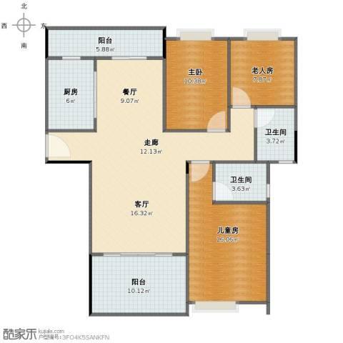 贝迪豪庭3室2厅1卫2厨112.00㎡户型图