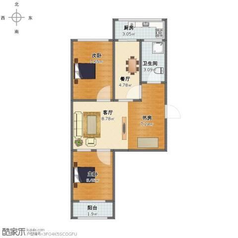 北全福小区3室2厅1卫1厨49.00㎡户型图