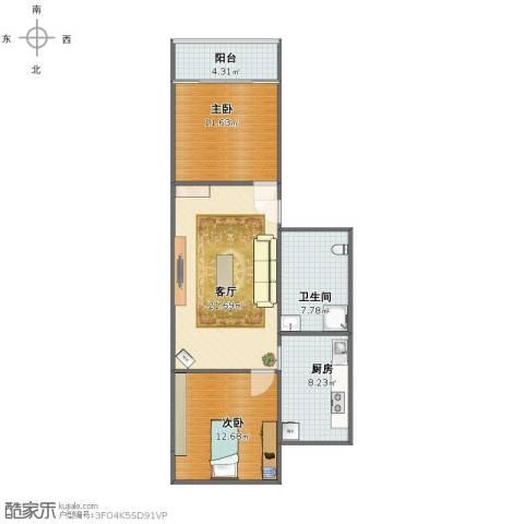 精彩住宅2室1厅1卫1厨74.00㎡户型图