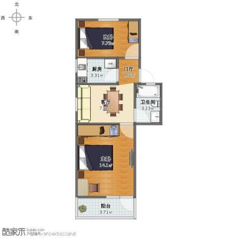 龙南五村2室1厅1卫1厨47.00㎡户型图