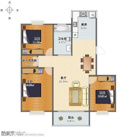 吉利名苑3室1厅1卫1厨103.00㎡户型图