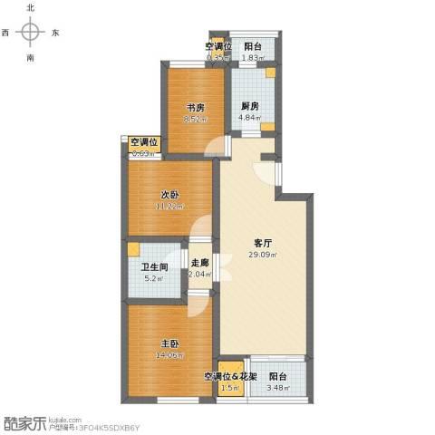 龙腾苑六区3室1厅1卫1厨106.00㎡户型图